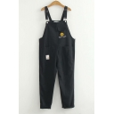Cartoon Smile Face Embroidered Students Casual Overall Pants