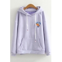 Lovely Cartoon Rabbit Embroidered Long Sleeve Relaxed Drawstring Hoodie