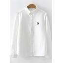 Unique Badge Embroidered Women's Basic Long Sleeve Workwear Button Down Shirt