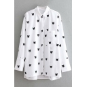 Fashion Allover Cartoon Cat Printed Long Sleeve Button Down Long White Shirt