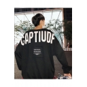 Street Letter CAPTIUDF Print Long Sleeve Round Neck Oversize Pullover Sweatshirt
