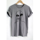 Funny Smoking Alien Printed Round Neck Short Sleeve Grey Streetwear T-Shirt