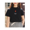 Letter Rose Floral Embroidered Crewneck Short Sleeve Cotton Casual Tee