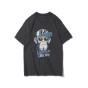 Funny Cartoon Gorilla Letter HANDSOME COOL BOY Round Neck Relaxed Cotton T-Shirt