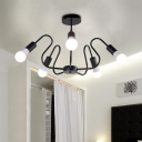 Wave Semi Flush Ceiling Light Industrial Metal 3/5 Heads Semi Flush Mount in Black Finish for Bedroom