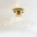 Wavy Glass Flared Semi Flush Light Industrial Vintage 1 Bulb Ceiling Flush Mount in Brass for Sitting Room