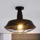 1 Head Wire Guard Semi Flush Mount with Barn Metal Shade Industrial Ceiling Lamp in Black