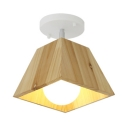 Tapered Square Semi Flush Mount Minimalist Wooden 1/2/3 Head Surface Mount Light with White Canopy