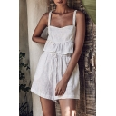 Summer New Fashion Ruffled Hem Cropped Cami Top Loose Fit Shorts Solid White Set for Women
