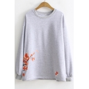 Simple Floral Printed Crewneck Long Sleeve Loose Casual Pullover Sweatshirt