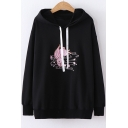 Fashion Rabbit Floral Embroidered Loose Casual Drawstring Hoodie