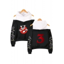 New Stylish Letter Print Cold Shoulder Long Sleeve Hoodie