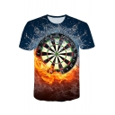 Cool 3D Fire Dart Board Print Blue Loose Leisure T-Shirt