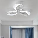 Peacock Style Semi Flush Light Modern Design Acrylic 3/5 Lights LED Semi Flush Light in White