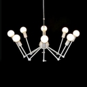 Retro Style Spider Hanging Lamp Adjustable Iron 8 Heads Chandelier Light in White