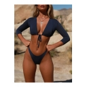 Summer Simple Plain Three-Quarter Sleeve Bow-Tied Front Beach Swimwear
