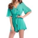 Basic Simple Plain V-Neck Half-Sleeved Tied Waist Casual Loose Rompers