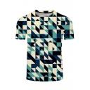 Fashion 3D Blue Geometric Pattern Short Sleeve Basic T-Shirt