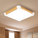 Nordic Style Square Flush Mount Acrylic Lampshade LED Ceiling Fixture in Gold for Office Restaurant
