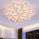 Acrylic Moon Shade Ceiling Fixture Concise Modern Multi Light LED Semi Flush Mount Light in White
