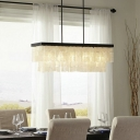 Rectangle Hanging Lamp Contemporary Shelly 6 Lights Decorative Chandelier Lamp in Black