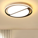 Minimalist Half Round Ceiling Lamp Metal LED Flushmount in Black and White for Exhibition Hall