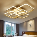 Multi-Layer Ceiling Light with 4/6/8 Square Ring Modern Acrylic LED Semi Flush Mount in White