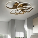 Modernism Ultrathin Ceiling Light with 3/5 Geometric Frame Metal LED Semi Flushmount in Coffee