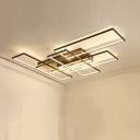 Super-thin Semi Flush Light Fixture with Rectangle Frame Modern Design Metal LED Ceiling Light