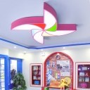 Eye Protection Windmill Flushmount Colorful Amusement Park Acrylic Shade LED Ceiling Lamp