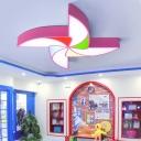 Eye Protection Windmill Flushmount Colorful Amusement Park Acrylic Shade LED Ceiling Lamp