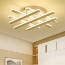Crossroads Semi Flush Mount Light Simplicity Concise Silicon Gel LED Lighting Fixture in Neutral