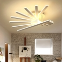 White Linear Ceiling Flush Mount with Round Canopy Simplicity Metallic 8 Lights LED Semi Flush Light