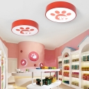 Red/Yellow Drum Shade Flushmount with Cute Dog Acrylic LED Ceiling Light for Nursing Room