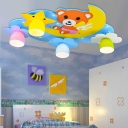 4 Lights Cartoon Bear Flush Mount Nursing Room Wooden Lighting Fixture in Blue/Pink