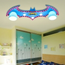 Blue Bat Flush Light Fixture Wooden 5 Lights Decorative Flush Mount Light for Kindergarten