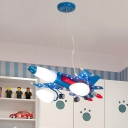 Blue Airplane Chandelier Lamp White Glass Shade 3 Heads Hanging Lamp for Game Room