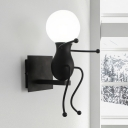 Black/White Open Bulb Sconce Light Metal Single Head Wall Mount Fixture for Nursing Room