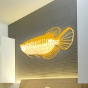 Acrylic Sconce Light with Fish Design Orange/Yellow LED Wall Lighting for Living Room