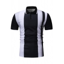Summer New Fashion Vertical Striped Short Sleeve Slim Fit Polo for Men