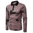 New Fashion Retro Newspaper Printed Three-Button Long Sleeve Men's Polo Shirt