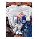 Light Grey Summer Floral Can Printed Loose Fit T-Shirt