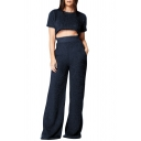 Round Neck Short Sleeve Cropped Top Wide-Leg Pants Plain Warm Fleece Co-ords