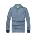 Men's Classic Check Printed Long Sleeve Cotton Blue Polo Shirt