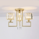 4/6 Lights Round Chandelier Light Vintage Clear Crystal Hanging Lamp in Champagne Gold