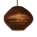 Geometric Suspension Light Nordic Style Brown Paper Single Head Hanging Light Fixture for Coffee Shop