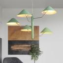 Metal Mushroom Style Indoor Lighting Fixture Nordic Macaron 3/5 Lights Suspension in Mint Green
