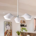 Triple Heads Linear Suspended Light with White Metal Shade Contemporary Hanging Chandelier