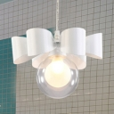 White Finish Modo Hanging Light Contemporary Clear Glass 1 Light Pendant Light for Bedroom