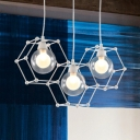 Geometric Metal Frame Drop Light with Global Shade Modernism 2/3/4 Lights Pendant Lamp in White
